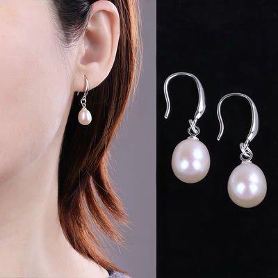 S925纯银天然淡水珍珠耳环女韩国气质耳坠防过敏时尚百搭闺蜜同款