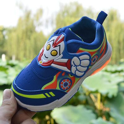 童鞋 3-6岁男童带灯运动鞋春秋季防水防滑软底儿童发光鞋2020新款