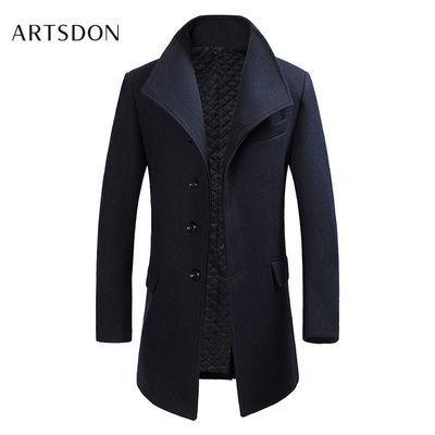 阿仕顿秋冬毛呢大衣男士中长款修身商务翻领外套羊毛混纺加厚大衣