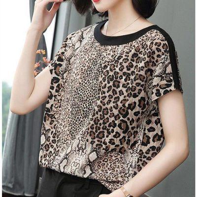 短袖T恤女豹纹上衣夏季女装2020宽松新款显瘦时尚冰丝打底衫宽松