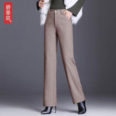 人字纹毛呢直筒裤女秋冬2020新款高腰垂感阔腿裤宽松加厚休闲裤子