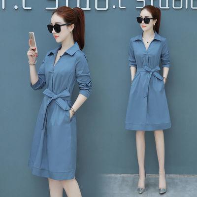 时尚女士秋裙2020新款秋装女装韩版修身气质长袖衬衫连衣裙