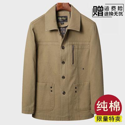 春季中老年纯棉夹克男爸爸宽松薄款夹克衫外套老爷爷休闲大码男装