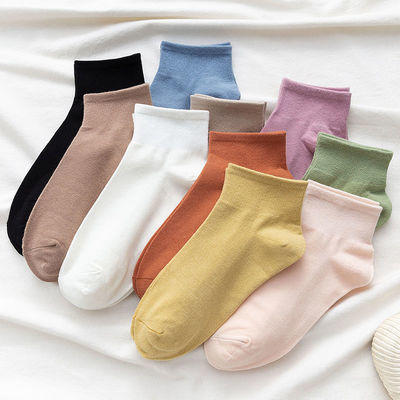 4双装纯色袜子女短袜白色浅口秋季短款ins潮日系黑色中筒纯棉冬季