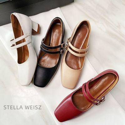 赫本玛丽珍鞋女复古2020秋季新款中跟浅口一字扣法式粗跟单鞋女