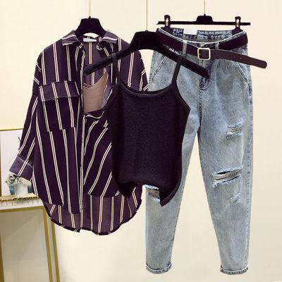 夏季新款洋气宽松条纹衬衫吊带背心破洞牛仔裤三件套装时尚套装女
