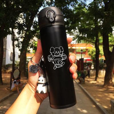男女学生韩版弹跳杯情侣保温杯卡通创意潮流户外简约不锈钢芝麻街