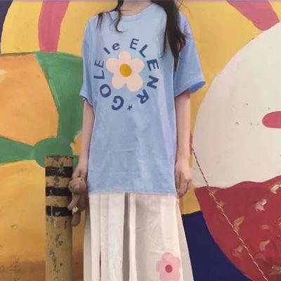 爆款韩国少女粉色小花花短袖T恤+泫雅学院风简约宽松花朵半身长裙