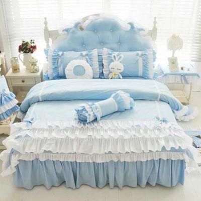 水星家纺正品纯棉韩版公主碎花四件套蕾丝花边被套床单床裙婚庆粉