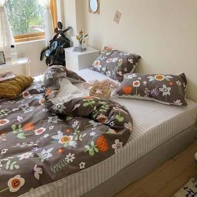 水星家纺正品全棉小花ins风清新手绘床上四件套纯棉1.5m1.8粉色少