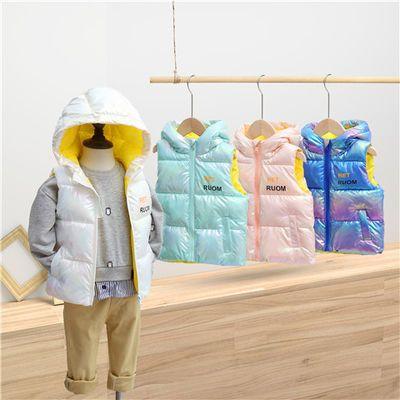 反季儿童羽绒棉炫彩马甲男女童中大童小孩外穿连帽加厚保暖背心冬