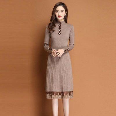 2020秋冬韩版新款加厚系带毛衣裙中长款过膝显瘦针织打底连衣裙女