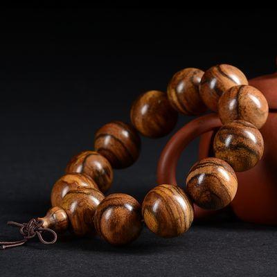 印尼花奇楠佛珠手串虎斑纹手链流行黑檀绿檀红檀香手链念珠