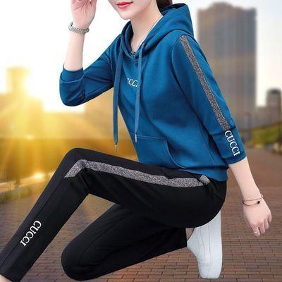 运动套装女春秋2020年秋季新款大码时尚连帽卫衣宽松休闲两件套潮
