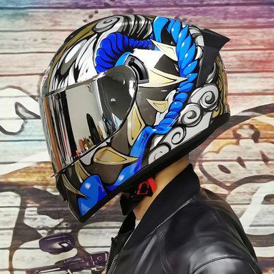 摩托车全盔男女双镜片跑车全覆式蓝牙个性机车赛车夏季头灰LVS