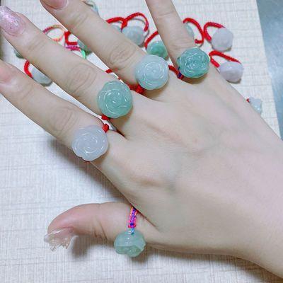 天然翡翠a货玫瑰花戒指转运招财貔貅玉石戒指男女款个性红绳编织
