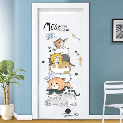 卡通小猫咪门贴纸可爱立体墙贴卧室贴画宿舍房间装饰墙壁墙纸自贴