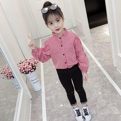 涂巴兔童装儿童衬衫女童长袖衬衣女宝宝格子上衣2020新款秋装洋气