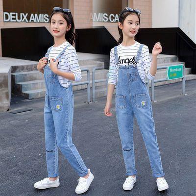 2020春秋季洋气刺绣小雏菊牛仔背带裤小女孩10岁12岁时尚百搭裤子