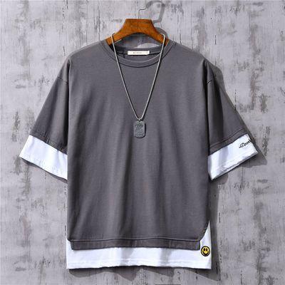 纯棉夏季原宿风拼色假两件短袖T恤男士大码圆领体恤韩版潮五分袖