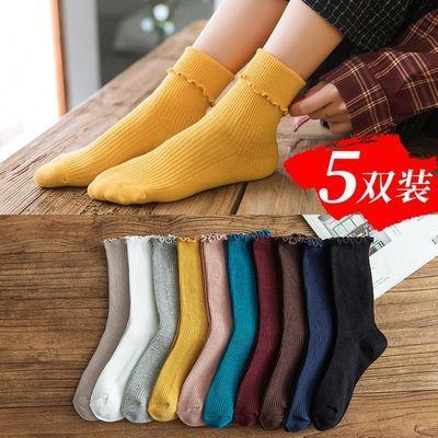 秋冬新款袜子女韩版中筒袜ins日系复古木耳边堆堆袜花边长筒女袜