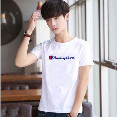 潮牌纯棉短袖T恤男夏季新款男士韩版修身圆领印花百搭休闲打底衫