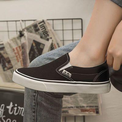 人本新款一脚蹬帆布鞋女复古休闲懒人鞋女学生全黑色平底布鞋子女