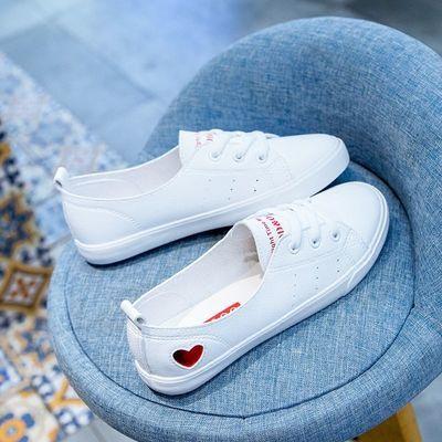 新品春季皮面浅口仙女小白鞋透气2020夏季新款软底系带平底女单鞋
