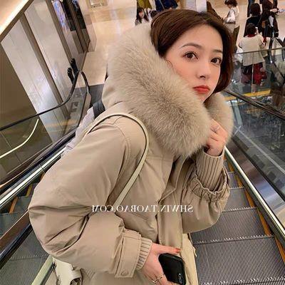 白鸭绒夏诗文同款羽绒服女中长款大毛领加厚宽松过膝韩版学生外套