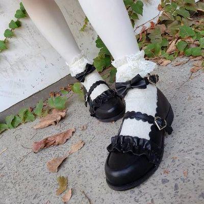 梅露露日系lolita鞋低跟洛丽塔鞋子圆头花边软妹学生jk制服小皮鞋