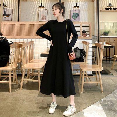 40825/2020秋冬新款中长款连衣裙韩版ins超仙学生长袖黑色显瘦打底裙子
