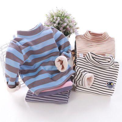 儿童加绒内衣保暖上衣男女宝宝中领打底衫秋冬季外穿加厚单件T恤