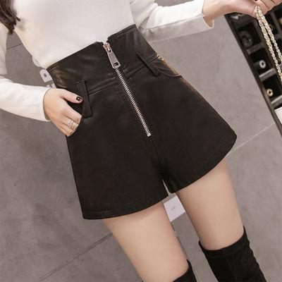 皮裤拉链黑色高腰短裤女2020新款秋季显瘦遮肚子高腰a字PU热裤潮