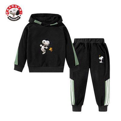 史努比男童秋款套装2020新款春装儿童春秋童装运动卫衣套装洋气潮
