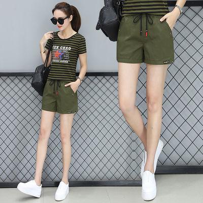 含棉 短裤女夏季学生2019新款韩版宽松军绿色休闲裤直筒短热裤子