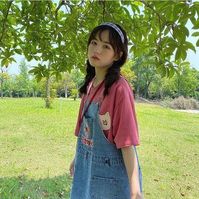 哥华弟粉雏菊刺绣牛仔背带裙女学生韩版宽松2020夏季新款减龄牛仔