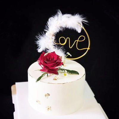 烘焙蛋糕装饰铁丝铁艺星星爱心生日羽毛珍珠精灵圆环蛋糕插牌插件