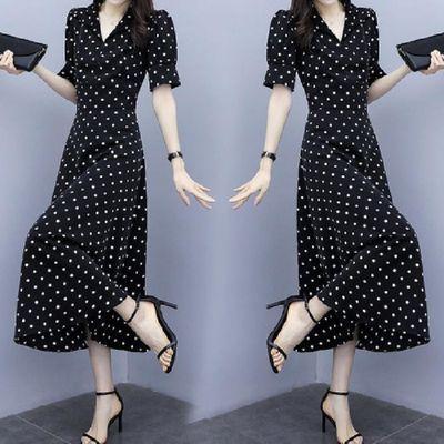 2020夏季新款连衣裙印花斑点裙子中长款V领A字裙款式显瘦短袖时尚