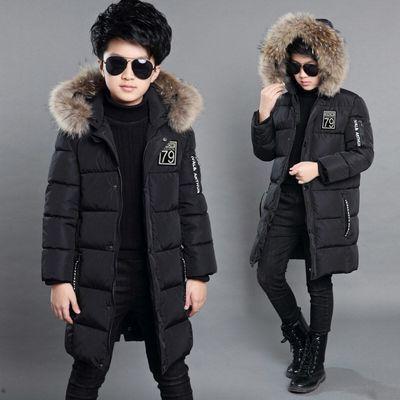 男童冬季中长款棉服棉服棉袄小男孩子宝宝加厚保暖外套6-7-8-13岁