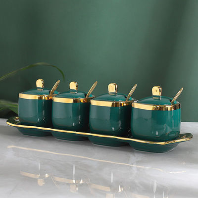 北欧陶瓷调料罐调料盒套装调味罐调味盒调味瓶厨房盐罐四件套家用