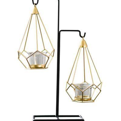 现代北欧风简约几何金属烛台家居装饰时尚镂空铁艺烛台酒柜摆件