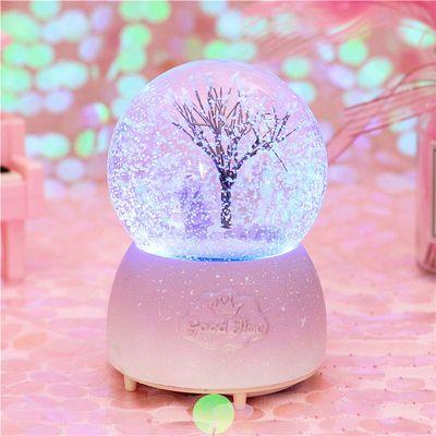 浪漫情侣梦幻樱花水晶球飘雪儿童音乐盒八音盒送女孩女友生日礼物