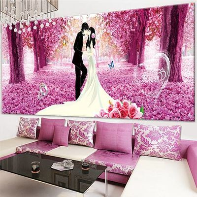 钻石画套件满钻樱花下的浪漫系列新款5D钻石喜庆结婚十字绣樱花情
