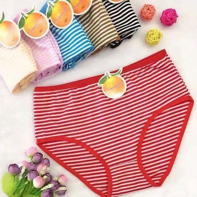 3-5条装 高腰大码舒适塑形收腹抗菌纤维条纹加大加肥女士三角内裤