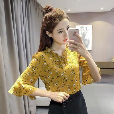 碎花雪纺衫短袖女2020韩版新款半袖喇叭袖印花超仙上衣夏修身显瘦