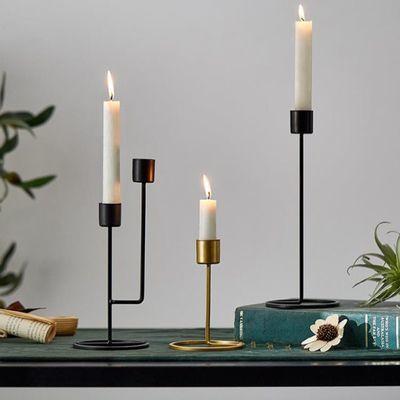 北欧ins风浪漫铁艺轻奢烛台摆件烛光晚餐道具家用台托台托盘