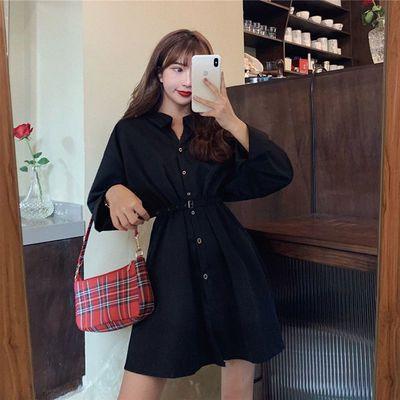 秋季新款显高时尚设计感小众女装腰显瘦气质长袖衬衫连衣裙女潮流