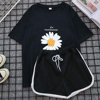 夏新款胖mm短袖短裤大码宽松时尚遮肚子T恤上衣学生运动服套装女
