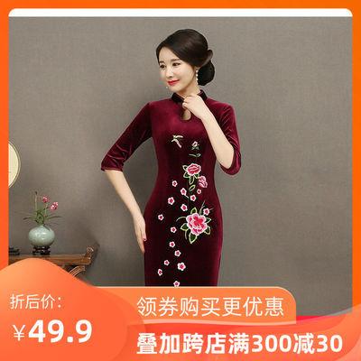 旗袍复古风情中式旗袍金丝绒广场演出服夜上海派对晚礼服