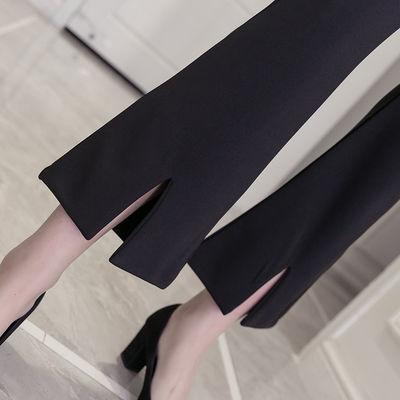 新品【薄款厚款】高腰蕾丝微喇叭裤女黑色大码休闲开叉九分裤学生